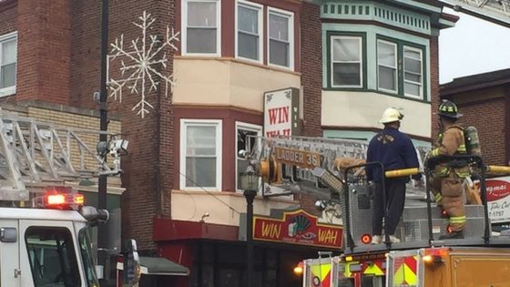 Fire On Roof Of Win Wah Building On 100 Block Of Fayette